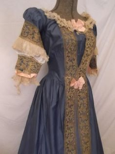 dresses from the 1800's | Antique 1800s Victorian Bustle Corset Dress Rare Blue Polished Cotton ...
