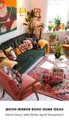 Colourful Living Room, Boho Living Room, Home And Living, Living Room Decor, Bohemian Living, Sage Living Room, Retro Living Rooms, Cozy Living Rooms, Small Living