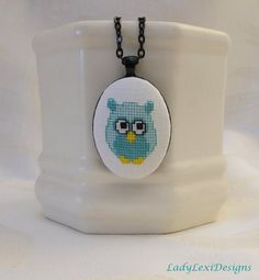 Turquoise Owl Cross Stitch Pendant  Hand by LadyLexiDesigns, $16.00