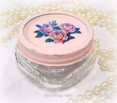 Shabby Chic Pink Vanity Jar  Very shabby chic and cottage home decor.        Tagged:  , cottage home decor , shabby