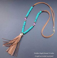 Pedra Natural turquesa roda de couro colar de contas borla colar Bohemian longo cola:
