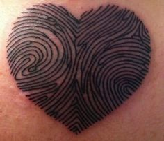 Couple Finger Prints in Heart Idea for Meaningful Tattoos