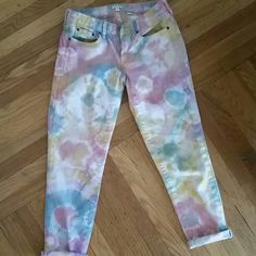 J Crew Custom Made Tie Dye Jeans J Crew Stretch denim in beautiful colors of yellow, purple, rose pink & jade colors. Custom Made and in excellent condition TRADE VALUE 55 J. Crew Pants