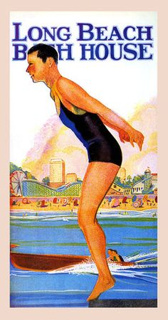 Man Swim Long Beach California Bath House Boat Sea Vintage Poster Repo Free s H | eBay