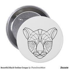 Beautiful Black Outline Cougar 7.5 Cm Round Badge