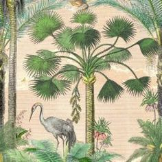 Shadow Palms • Tropical Palm Tree Mural • Milton & King USA Tree Wallpaper, Traditional Wallpaper, One Light, Designer Wallpaper, Cactus Plants, Palm Trees, All The Colors, Sunrise, This Is Us