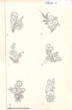 Vintage Floral Motifs. Plate#1. Good for repetitive designs or for a corner. I've embroidered each of these on one corner of table napkin set, using different  stitches.