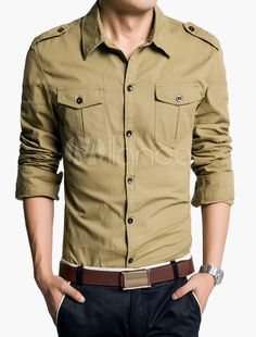 Button-up Long Sleeve Shirt with Pockets