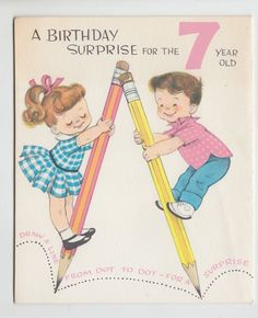 Vintage 1960s Children on Pencils Fold Out Birthday Greeting Card