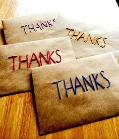 Embroidered Thanks Kraft paper envelope or package Craft Work For Kids, Star Diy, Paper Envelopes, Message Card, Student Gifts, Recycled Crafts, Embroidery Art, Crafts To Make, Sewing Crafts