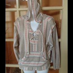 """Distressed cotton hoodie I love this aesthetic and soft fabric. All edges unfinished. Laced in front with thick lace. Pretty pastel thin stripes of pink, light blue, navy and tapes Aztec pattern. Lightweight for layering and year around use.  65% cotton 35% poly for softness and stretch and shaping. 24"""" chest and long. Billabong Tops Sweatshirts & Hoodies"""