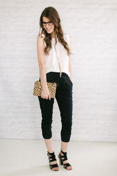 track pants + muscle tank + chunky heels