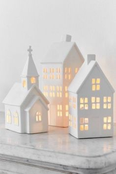 Porcelain Candle Houses - Set of Three Sophie Conran Scandinavian Christmas, White Christmas, Christmas Home, Christmas Holidays, Christmas Crafts, Clay Houses, Ceramic Houses, Paper Houses, Deco Table Noel