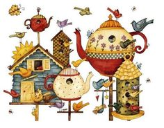 Cute Country Print.Love All The Birdhouses......