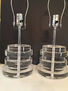 Pair Of Collectible Modern Stacked Lucite Acrylic Table Lamps  | Collectibles, Lamps, Lighting, Lamps: Electric | eBay!