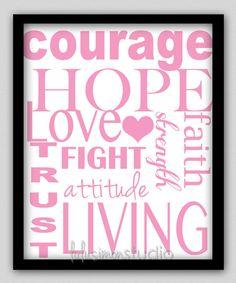 8 x 10 Wall Decor Print, Modern Home Decor-Breast Cancer Print