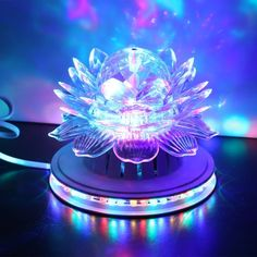 Dream Color LED Crystal Lotus Rotating Stage Light