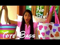 ▶ DIY No Sew Tote Bag - YouTube.  Cute idea for kids but I think I'll sew if I make one and just line it.