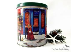 Vintage Decorative Christmas Tin Shabby Holiday Storage Container, Featuring  American Artist Sandi Lebron