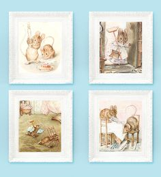 4 Vintage Beatrix Potter Prints Fairytale Nursery Illustrations 3x3.5 for Babys Bedroom. Full Color Storybook Plates Mice Family House. $8.00, via Etsy.
