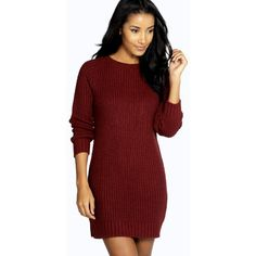 Boohoo Maria Soft Knit Jumper Dress featuring polyvore, fashion, clothing, tops, sweaters, wine, red turtleneck, chunky knit sweater, red knit sweater, chunky sweater and turtleneck sweater