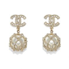Earrings - Gold, Pearly White & Crystal - Metal, glass pearls, glass, strass & resin - Default view - see full sized version Moonstone Earrings, Crystal Earrings, Crystal Jewelry, Sterling Silver Earrings, Gold Earrings, Gold Bracelets, Silver Ring, Chanel Pearl Earrings, Chanel Necklace