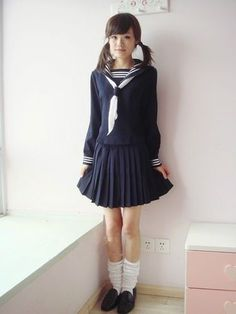 Japanese Japan School Pure Cute Girl Blue Long-Sleeved Uniform Cosplay Costume