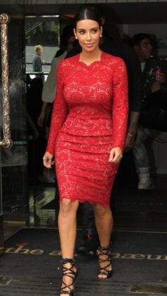 Kim Kardashian in Red Lace