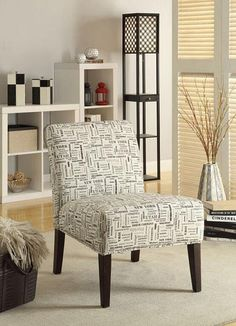 This Beige Chair Features A Smooth Frame Construction With Long Tapered  Espresso Legs And Clean Upholstered Cushions With A Design Pattern Of Name  State.