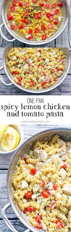 one pan spicy lemon chicken and tomato pasta - (cooks all in one pan and is ready in under 20 minutes)
