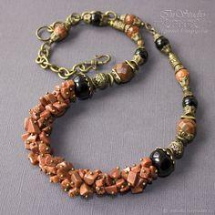 Amber Jewelry, Glass Jewelry, Boho Jewelry, Jewelry Art, Beaded Jewelry, Jewelry Necklaces, Bold Necklace, Gemstone Necklace, Beaded Necklace