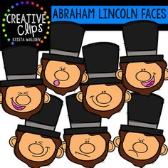 Abraham Lincoln Faces {Creative Clips Clipart} This 14-image set is full of Abraham Lincoln expressions!