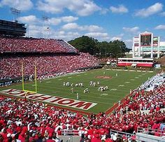 Carter Finley Stadium - Home of the North Carolina State Wolfpack Nc State Sports, Nc State Football, College Football, Football Stadiums, Wolfpack Football, Sports Teams, Football Season, North Carolina Colleges, Nc State University