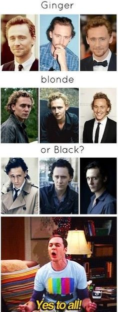 Tom Hiddleston looks always hot no matter which hair colour he has