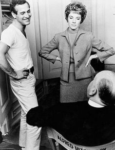 Paul Newman and Julie Andrews discussing with Alfred Hitchcock on the set of Torn Curtain