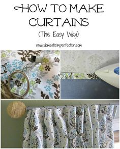 How To Make Curtains (The Easy Way), Basically sew a large rectangle, and instead of sewing one million back tabs and sewing them on, clip rings to the back and the front looks the same!