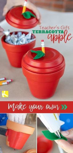 Perfect for back-to-school teacher appreciation or end of the year! Perfect for back-to-school teacher appreciation or end of the year! Jar Crafts, Crafts For Kids, Adult Crafts, Decor Crafts, Easy Diy Gifts, Diy Hacks, Wrapping Ideas, Wrapping Gifts, Thank You Gifts
