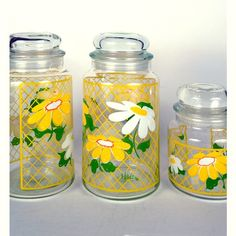 Vintage daisy canisters