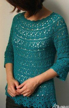 Схема пуловера крючком  Пуловер цвета морской волны связан крючком. Схема вязания пуловера крючком