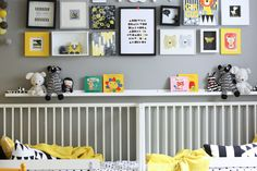 Four decor ideas // wall art wednesday yellow kids rooms, nursery modern, b Gray Bedroom, Kids Bedroom, Yellow Kids Rooms, Nursery Modern, Grey Yellow, Black White, Yellow Walls, Minimalist Home Decor, Kid Spaces