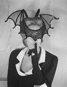 """Vintage shot of perfumiere Hélène Rochas, photographed by André Ostier at a masquerade ball in Paris, The event was called """"Nuit du Pré Catelan"""" and was held on the Bois de Boulogne. Look at Valeska Suratt's hat for comparison. Retro Halloween, Halloween Mode, Halloween Fashion, Happy Halloween, Halloween Names, Vintage Halloween Photos, Hot Halloween Costumes, Halloween Parade, Halloween Queen"""