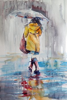 ARTFINDER: It is raining by Kovács Anna Brigitta - Original watercolour painting on high quality watercolour paper. I love landscapes, still life, nature and wildlife, lights and shadows, colorful sight. Rain Painting, Painting People, Painting & Drawing, Watercolor Landscape Paintings, Watercolor Artwork, Watercolor Illustration, Composition Painting, Rain Art, Umbrella Art