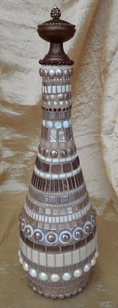 Mosaic Glass Bottle Brown and Beige by MARYLANDMOSAICS on Etsy