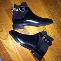 Zara belted booties Black leather belted booties. Size 36 (Womens 6/6.5) Zara Shoes Ankle Boots & Booties