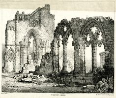 Whitby Abbey - Ruins of a church built in Gothic style; doorway under pointed arch at left, and a wall with remains of two windows under pointed arches and intricate tracery at right; building stones lying on the grass in foreground, more ruins seen in background at right.    Lithograph