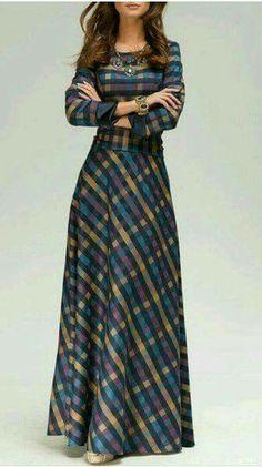 Vintage Scoop Neck Long Sleeve Plaid Prom Maxi Dress For Women Pin: Atelier jose Modest Outfits, Modest Fashion, Hijab Fashion, Fashion Dresses, Fashion Clothes, Mens Fashion, Trendy Dresses, Cute Dresses, Beautiful Dresses