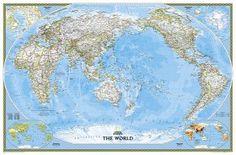 Pacific Centered wereldkaart blauw