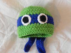 Crocheted baby hat - Teenage Mutant Ninja Turtle (Leonardo) Beanie, 6-12 month size. $20.00, via Etsy.