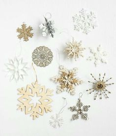 White and gold Christmas tree decorations.