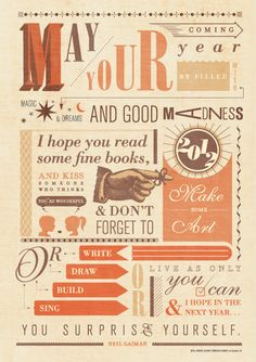 Quote by Neil Gaiman, typography poster by Francesca Ramos